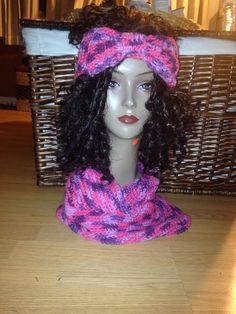 Turban style ear warmer and matching neckwarmer on Etsy, $15.00