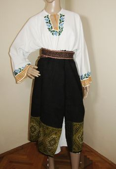 Beaded Bucovina shirt and antique wool apron fro sale at www.greatblouses.com Romania, Apron, Harem Pants, Fashion Inspiration, Traditional, Costumes, Wool, Beads, Antiques