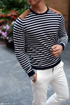 Shop this look on Lookastic:  http://lookastic.com/men/looks/navy-and-white-horizontal-striped-crew-neck-sweater-white-chinos/9026  — Navy and White Horizontal Striped Crew-neck Sweater  — White Chinos