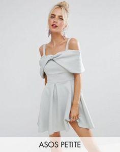 Короткое приталенное платье с открытыми плечами и отделкой в форме банта ASOS PETITE