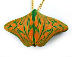 Orange and Green and Yellow Polymer Clay by CicadaArtJewelry