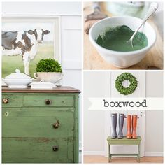 Boxwood is our rich, dark grassy green. Depending on the finish used on the piece, it can look bright and bold or subtle – more like a muted olive. Boxwood is named for the preserved boxwood wreaths a