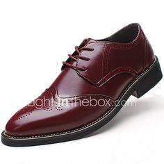 Hombre Zapatos formales Cuero Primavera   Otoño Negocios   Confort Oxfords  Antideslizante Negro   Marrón   Borgoña   Boda   Fiesta y Noche   Talón de  bloque ... 244bf564f8c6