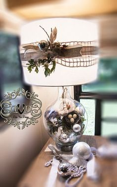 (3) Hometalk :: Creating a Woodland Christmas Under Glass  That part is cool, but I would have never thought of decorating a lamp shade for Christmas or any holiday with ribbon or burlap etc. and a holiday pick attached.  Great idea from this hometalk post!