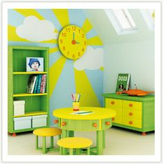 wall painting and clock