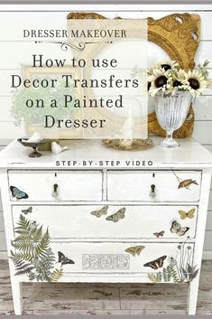 Looking for a quick and easy dresser makeover idea? Check out this video tutorial showing you how to use IOD Decor Transfers on a vintage white painted dresser. Perfect for anyone who loves to DIY home decor but doesn't have a ton of time!