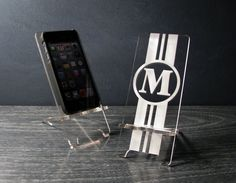 Personalized Initial Monogram Phone Stand Docking Station for iPhone 4 and iPhone 5