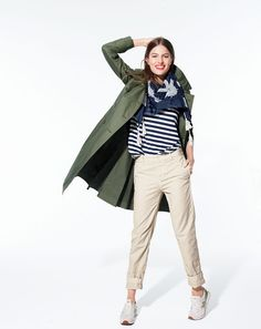 AUG Style Guide: J.Crew women's military trench coat, broken-in boyfriend chino pant, mixed-stripe vintage cotton tee with rounded hem and embroidered square scarf. Military Trench Coat, Trench Coat Outfit, J Crew Outfits, Casual Outfits, Casual Clothes, J Crew Style, My Style, J Crew Sneakers, Sneakers Looks