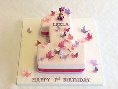Minnie Mouse Number One Cake - Baby Shower Cakes - Celebration Cakes 1 Year Old Birthday Cake, 1st Year Cake, 1st Birthday Cake For Girls, Number Birthday Cakes, Twin Birthday Cakes, Happy Birthday, Torta Minnie Mouse, Number One Cake, Number Cakes