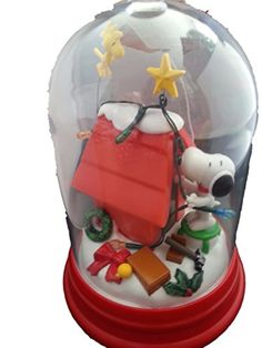 """Peanuts Snoopy Decorating Doghouse Christmas Holiday Lightup Table Decor Dome 10""""h X 6""""w"""