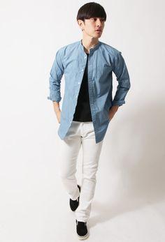 春メンズファッション日本製タイプライターバンドカラーオーバーサイズ長袖シャツUpscapeAudienceアップスケープオーディエンス