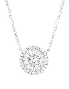 Lord & Taylor Cubic Zirconia Circle Pendant Necklace Women's Silver