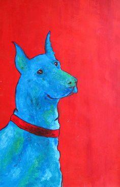 Blue dog/blauwe hond www.suzanvdberg.nl