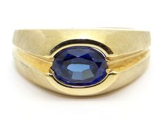 Vintage Estate 10k Yellow Gold Men's Oval Cut 1.50ct Synthetic Blue Sapphire Band Ring Size 9 by AntiqueJewelryLine on Etsy