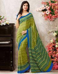 Mehendi Green Color Crepe Casual Party Sarees : Soniya Collection YF-30578