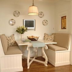 .Love the neutrals and the legs of the table.
