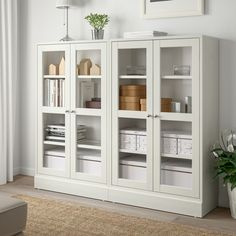 HAVSTA Storage combination w/glass doors – white – IKEA – Before and Afters Remodel Ideas Bookcase With Glass Doors, Glass Cabinet Doors, Scandinavian Furniture, Scandinavian Design, Interior Ikea, Tempered Glass Shelves, Solid Pine, Solid Wood, Open Shelving