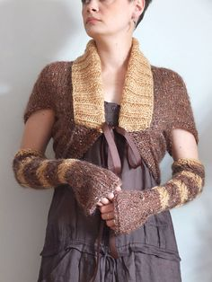 Shrug with arm warmers braided soft mohair in copper by couvert, $90.00