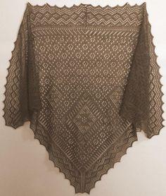 Name: 'Knitting : Russian Triangular Shawl 'Polushalok' Lace Knitting Stitches, Lace Knitting Patterns, Lace Patterns, Crochet Shirt, Knit Crochet, Crochet Hats, Knit Lace, Knitted Shawls, Crochet Scarves