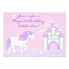 Shop Magical Fantasy Unicorn Girl's Birthday Invitation created by TheCutieCollection. Magic Birthday, Girl Birthday, Invitation Paper, Custom Invitations, Unicorn Birthday Invitations, Fantasy, White Unicorn, Unicorns, Paint