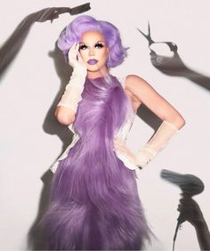 """Renea💜❄️ on Twitter: """"I'm bored & I need serotonin so reply your fav queen & fav color for surprise!"""" / Twitter Blair St Clair, Trinity Taylor, Farrah Moan, Violet Chachki, Adore Delano, Drag Queens, Purple Aesthetic, Rupaul, Purple Dress"""