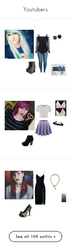 """""""Youtubers"""" by topazwarrior ❤ liked on Polyvore featuring Good American, Topshop, Pinup Couture, Christopher Esber, Rebecca Minkoff, GUESS, City Chic, Amanda Rose Collection, Hot Topic and MINX"""