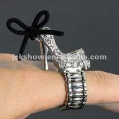 Diamond high-heeled shoe stretch Ring