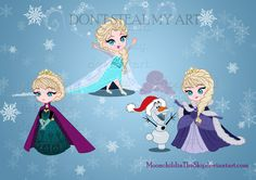 Comish for Cynthiabelle It's Chibi Elsa♥ who needs more description?? I hope you like it!! EDIT 1: everybody is loving the dress in the right, so I have to clear out, it's not my creation, I ...