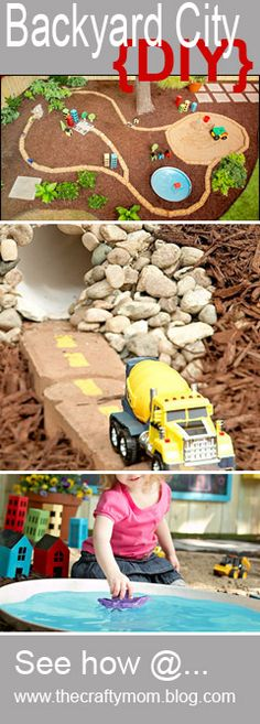toy car tunnel in backyard play area. Great idea for fairy/kids garden