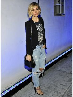 Sienna Miller in ripped jeans In december 2014.