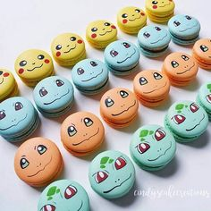 Cute & colourful Pokemon macarons by Cupcakes Pokemon, Pokemon Birthday Cake, Pokemon Party, Pokeball Cake, Pikachu Cake, Bubble Birthday Parties, Pokemon Craft, Cute Desserts, Cookie Designs