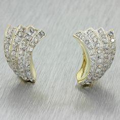 Vintage Estate 14k Solid Yellow Gold 1.68ctw Diamond Curve Swirl Earrings
