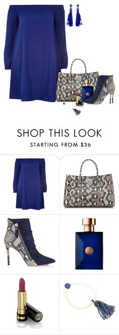 """""""Untitled #7005"""" by lisa-holt ❤ liked on Polyvore featuring River Island, Versace, Gucci, Latelita and Oscar de la Renta"""