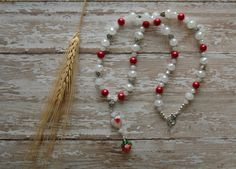 Red Rose Rosary Necklace Religious Jewelry White Heart Earrings Cottage Chic Celtic Heart Knot Relic Ambient Atelier Art Jewelry Design by AmbientAtelier on Etsy