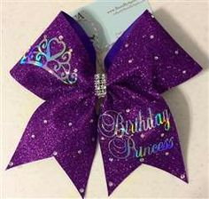 Birthday Princess Full Glitter and Swarovski Crystals Cheer Bow