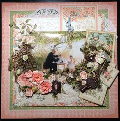""""""" Secret Garden Tea Party with Papa """"  Art by Crystal Cecconi  Photograph by Darcy Sorochan of Discover Photography.    Graphic 45 Secret Garden paper KaiserCraft & Tim Holtz embellishments"""