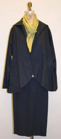 Ensemble Romeo Gigli (Italian) ca. late 1980s cotton, lycra, silk, wool, leather