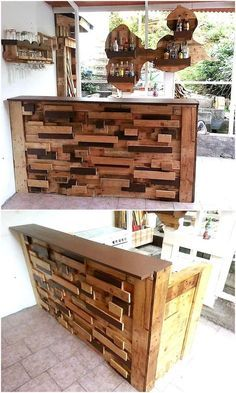 Here we are going to present an idea which is best for a bar owner, the pallets are cut into small cubes and painted with different color complementing each other. This idea can be easily copied and it will not take much time in accomplishment.