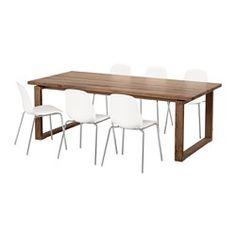 IKEA - MÖRBYLÅNGA / LEIFARNE, Tafel met 6 stoelen, Elke tafel is uniek, met een gevarieerde adering en natuurlijke kleurnuances; een onderdeel van de charme van hout.De tafel heeft een toplaag van massief hout, een slijtvast natuurmateriaal dat indien nodig kan worden geschuurd en worden afgewerkt.De tafel heeft een robuuste uitstraling - alsof er echte planken op liggen - wat een degelijk houtgevoel geeft.Goede milieukeuze, omdat de constructie met massief hout op spaanplaat efficiënt g...