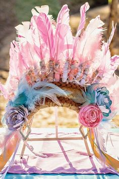 Beautiful Custom Headdress with Pink Feathers