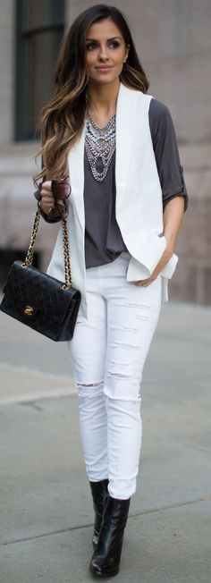 Mia Mia Mine White Vest Layering Fall Inspo                                                                             Source