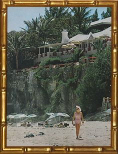 """Classic Slim Aarons colour plate from his iconic book, 'A Wonderful Time' pub 1974 in a gilt bamboo frame! Image Sz: 12 3/4""""H x 9 1/2""""W"""