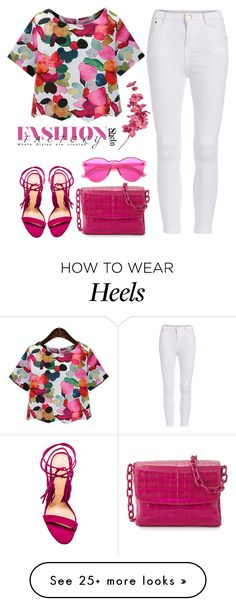 """""""Floral Blouse - Shein"""" Outfit and on Polyvore featuring Schutz, Nancy Gonzalez, Pink, colorful, thinkpink and shein"""