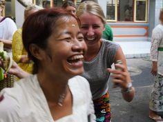 Local staff member Komang and intern Liza are having fun together at Komang's birthday