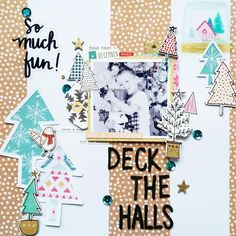 Deck The Halls layout by Amanda Baldwin featuring Crate Paper Snow and Cocoa collection for @paperissues #decembertoremember #newissue challenge