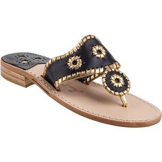 JACK ROGERS Nantucket Thong Sandal Black Leather ($118) ❤ liked on Polyvore featuring shoes, sandals, black leather, metallic gold sandals, black thong sandals, stacked heel sandals, leather sole shoes and metallic sandals