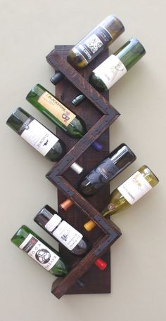 Wall Wine Rack 8 Bottle Holder Storage Display by AdliteCreations # diy wine rack easy bottle holders Zig Zag Wine Rack, Rustic Wood Wall Mounted Wine Bottle Display, Wine Bottle Storage Holder, Vertical Wine Rack Wine Bottle Display, Wine Bottle Storage, Wine Bottles, Wine Bottle Holders, Wine Decanter, Rustic Wine Racks, Unique Wine Racks, Small Wine Racks, Rustic Wood Walls