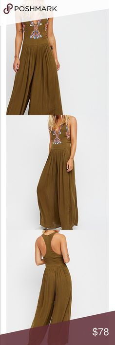 Free People Amalfi Wide Legs Jumpsuit Brand new. Olive green color. Lined 100% rayon almost 19 inches pit to pit. Free People Other