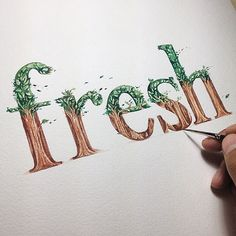 re-FRESH (dulu) Lettering (Georgia style) with Watercolor on canson paper 300gsm #lettercolor #morningdrawing