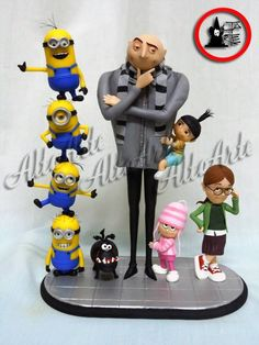 porcelana fria biscuit bob ikeda - Despicable Me Polymer Clay Figures, Polymer Clay Animals, Fimo Clay, Polymer Clay Projects, Polymer Clay Charms, Clay Crafts, Minion Birthday, Minion Party, Porcelain Clay